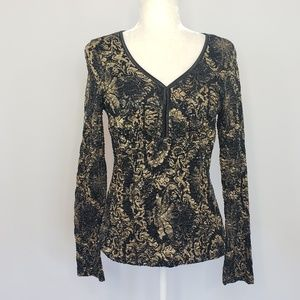 INC Intl Concepts black & gold metallic Top Large